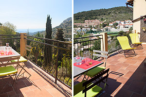 Apartement at La Turbie, Cote d'Azur, balcony with dining table and deck-chairs